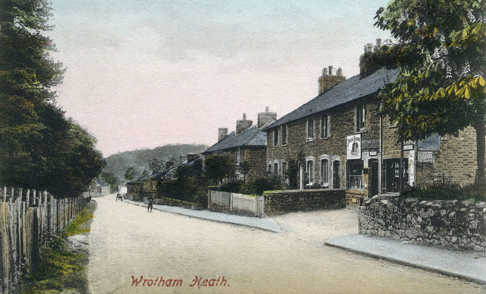 The old ironstone cottages on Maidstone Road, Wrotham Heath. The row in the foreground is currently Marion Cottages, whilst further down is Daisy Cottages. This photograph was taken in 1904, about the time Thomas Stiles purchased Daisy Cottages as a dowry for his daughter, Daisy.